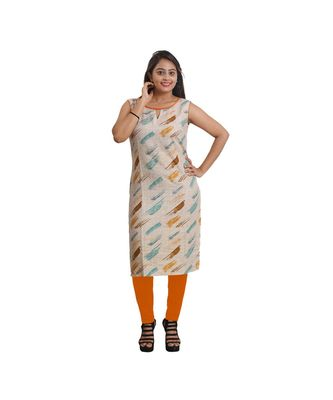 Cream Printed Kurti For Women