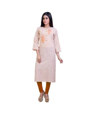 Striped embroidered kurta For Women