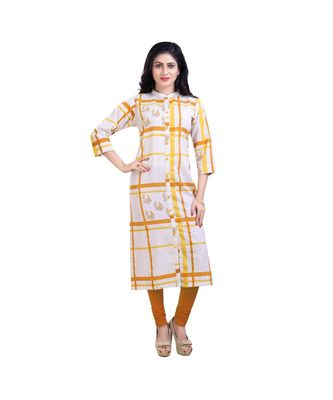 Checked and Floral Kurta For Women