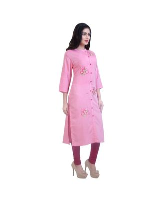 Pink Floral embroidered Kurta For Women