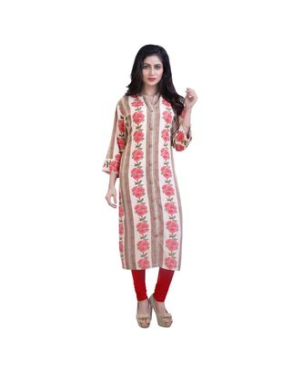 beige Floral print kurta For Women