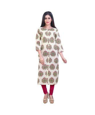 Floral print green kurta For Women
