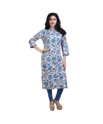 Blue Floral Print Kurta For Women