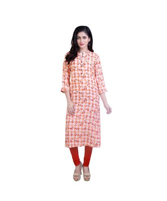Orange Floral Printed Kurta For Women