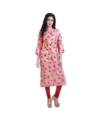 red Floral Kurta For Women