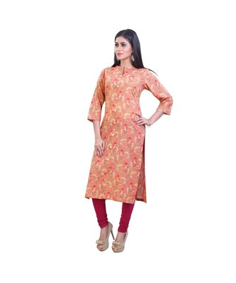 Peach Floral Kurta For Women