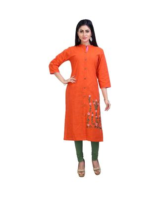 Orange embroidered Kurta For Women