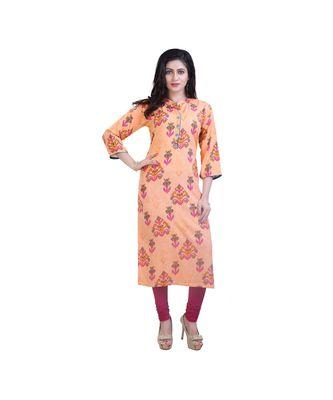 Orange printed kurta For Women