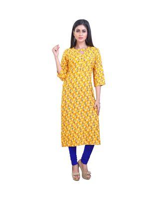 Yellow Printed Kurta For Women