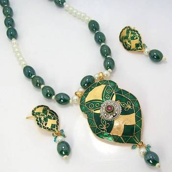 Meenakari Leafy Solid Color Necklace Metallic Green