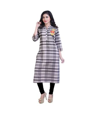 embroidered grey kurta For Women