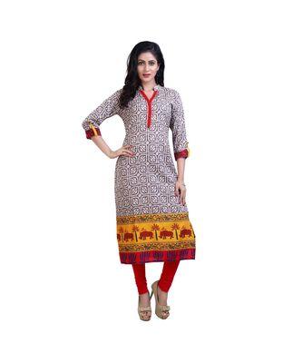 Cream Printed kurta For Women