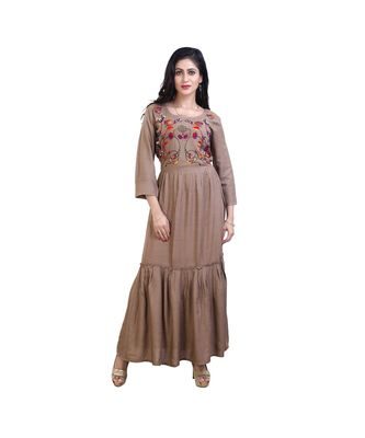 embroidered long gown For Women
