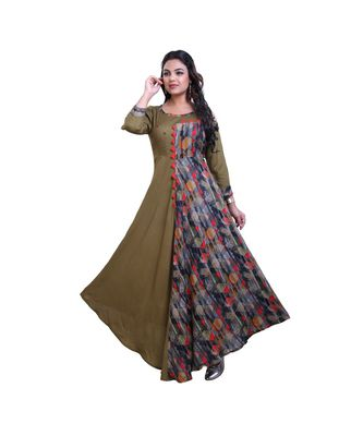Olive Green Long Gown For Women