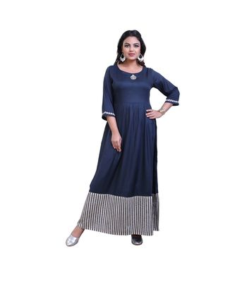 Blue Embellished Gown For Women