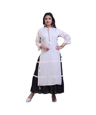 Peach & Black Layered Gown For Women