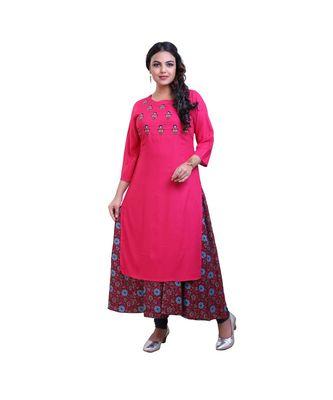 Pink Two Layered Kurta For Women