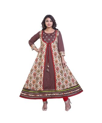 Brown Kurti with Attached Printed Jacket For Women