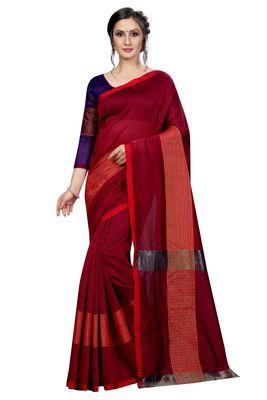 Maroon plain cotton saree with blouse