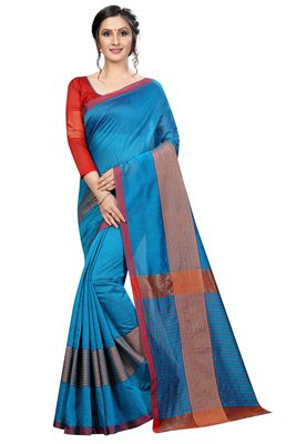 Sky blue plain cotton saree with blouse