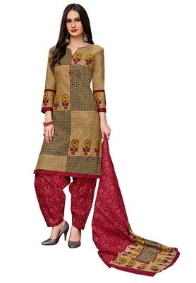 Women's Beige & Maroon Cotton Printed Readymade Salwar Suit Set