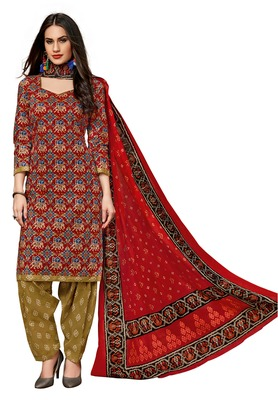 Women's Red & Bronze Cotton Printed Readymade Salwar Suit Set