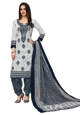 Women's White & Grey Cotton Printed Readymade Salwar Suit Set