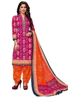Women's Pink & Orange Cotton Printed Readymade Salwar Suit Set