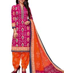 Women's Pink & Orange Cotton Printed Readymade Salwar Suit Set