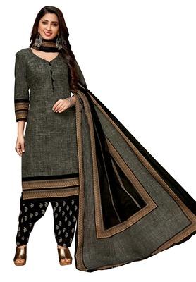 Women's Grey & Black Cotton Printed Readymade Salwar Suit Set