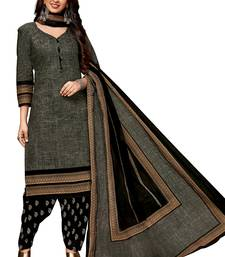 Women's Grey & Black Cotton Printed Readymade Salwar Suit Set