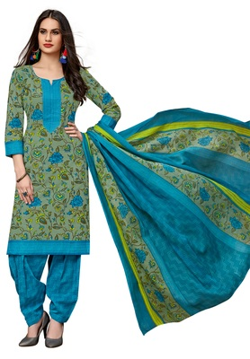 Women's Green & Blue Cotton Printed Readymade Salwar Suit Set