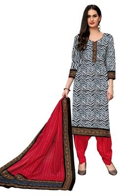 Women's Black & Red Cotton Printed Readymade Salwar Suit Set