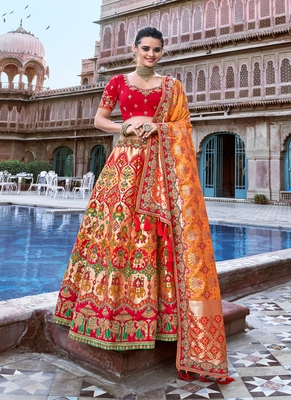 Red thread embroidery silk semi stitched lehenga