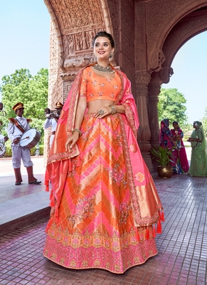 Light-pink thread embroidery silk semi stitched lehenga