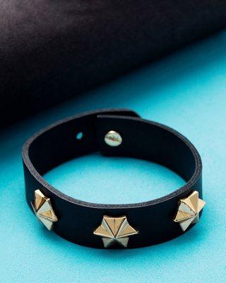 Squad Star Studded Black Leather Bracelet