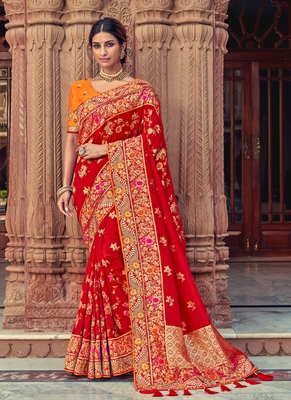 scarlet red woven silk saree with blouse