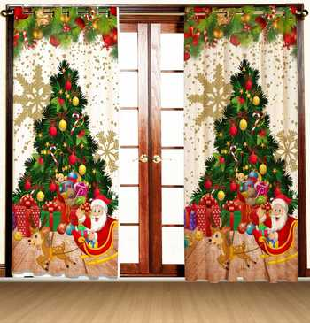 christman tree santa polyester curtains