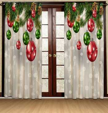 christmas deco polyester curtains