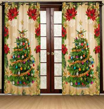 christmas tree polyester curtains