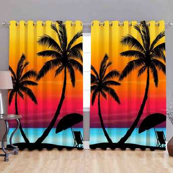 coconut tree polyester curtains