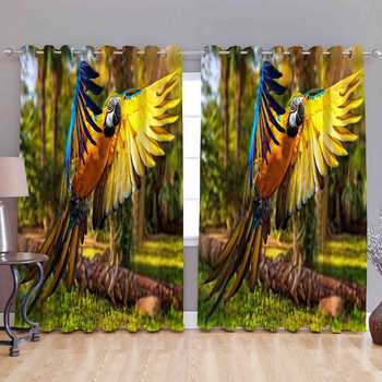colorful parrot polyester curtains