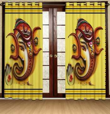 gaja mukh ganesha polyester curtains