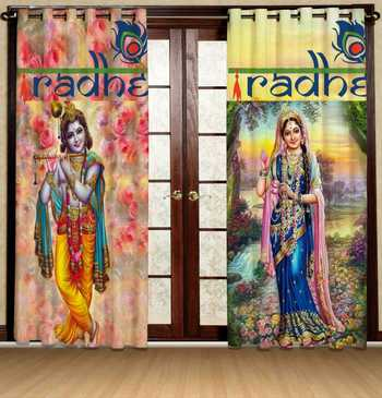 Krishna & Radha polyester curtains