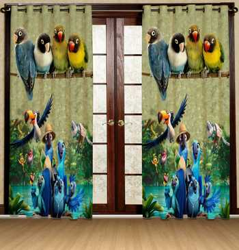 parrot polyester curtains
