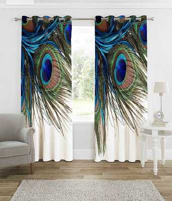 pecock feather polyester curtains