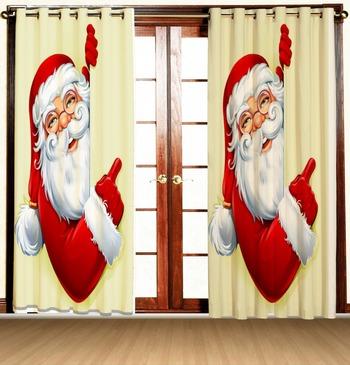 santa face polyester curtains