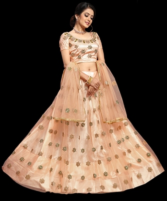 Light-peach embroidered net semi stitched lehenga