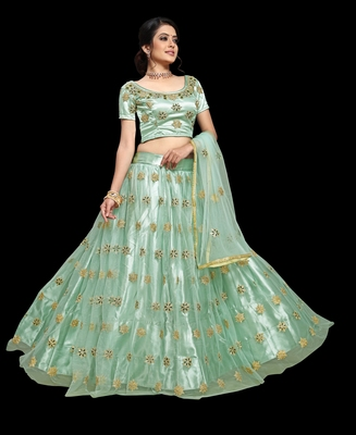 Teal embroidered net semi stitched lehenga