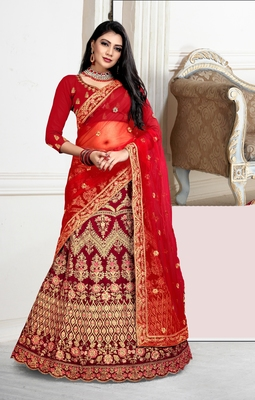 Dark-red cord velvet semi stitched lehenga